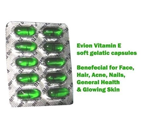 Set di 100 capsule Evion di vitamina E per un viso luminoso, capelli forti, acne, unghie, pelle luminosa, 400 mg