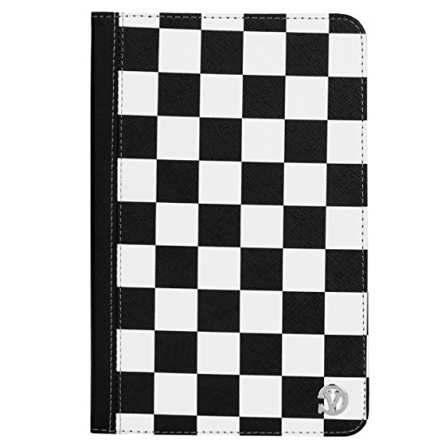VanGoddy Slim Black and White Checkered Folio Book Case with Built-in Stand Suitable for Acer Iconia One 7 / Iconia One 8