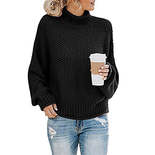 SFYZY Sudaderas para Mujer con Cuello Alto y Manga Larga Suéter Señoras Suéter de Punto Cuello Alto Ocio Suéter Tops de Gran tamaño Abrigo Acogedor Jersey