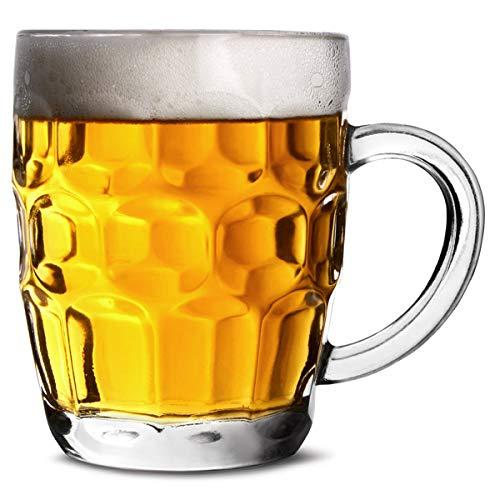bar@drinkstuff Lotto di 4 Tazze/Bicchiere da Birra 285 ML, Boccale di Birra Tradizionale