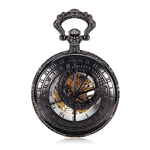 Reloj de bolsillo clásico personalizado Color de la pistola Números romanos Dial Cartas de pared retro Relojes de bolsillo mecánicos Hombres y mujeres Flip antiguo Mesa de regalo Regalo para el día de