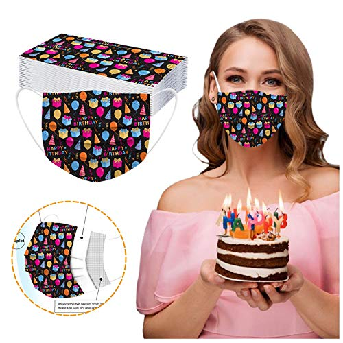 CawBing Birthday Gifts Disposablē_Face_Masks for Her Him 30PCS Happy Birthday Printed Decorations Balaclava 3-ply Comfort Breathable Face_Coverings with Elastic Earloop Protection Bandana