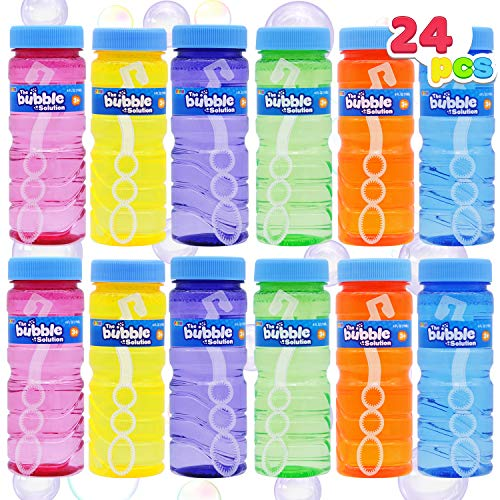 JOYIN 24 Pcs Bubble Bottles with Wand Assortment for Kids, 4oz Blow Bubbles Solution Novelty Summer Toy, Party Favors, Birthday, Outdoor & Indoor Activity