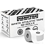 Hampton Adams (32 Pack) White Bulk Athletic Tape - 1.5' x 45 feet Per Roll - NO Sticky Residue & Easy to Tear - Perfect for Sports Athletes, Trainers & First Aid Injury Wrap: Fingers Ankles Wrist