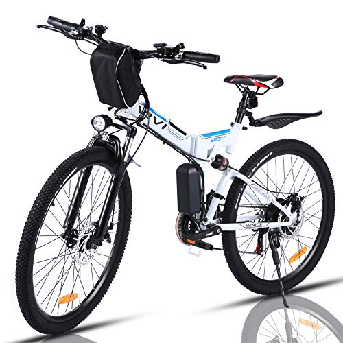 VIVI Folding Electric Bike 350W, Adult Electric Bikes, 26' Mountain Bike with 8Ah Battery, 20 Mph Speed/Recharge Mileage 25 Mile/ 4 Working Mode (White)