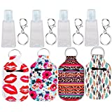 4Pcs Empty Travel Size Bottle Hand Sanitizer Bottle Holder Refillable 30 ML Bottles for Soap, Lotion and Liquids Reusable Bottles with Keychain Carriers (Style A)