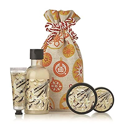 The Body Shop Warm Vanilla Gift Sack, Exclusive Holiday Scent, Made With Community Trade Shea Butter, 4Piece