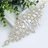 ShiDianYi Bridal Wedding Dress Sash Belt Applique with Silver AB Stone Belt Waist Decoration Rhinestone Bridal sash for Bridal Shower-190509E