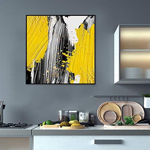 ganlanshu Abstrakte Wasserfallwandkunst nordische Leinwandmalerei gelbe Schwarze weiße Blockplakat-Hauptdekoration,Rahmenlose Malerei-60X60cm