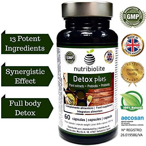 Detox Plus Drainant Diurétique Minceur Dépuratif du Foie Stimule Fonction Digestive Élimine Toxines Supplément Symbiotique Naturel avec Probiotiques + Prébiotiques + Extraits de Plantes Sans Gluten