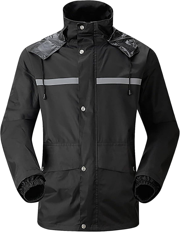 CofeeMO Raincoat for Adult Work Wear Long Sleeve Trench Coat Waterproof Duty Jacket Windproof Lightweight Reflective