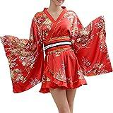Women's Japanese Kimono Gown Blossom Prints Geisha Yukata Sexy Short Mini Dress Kimono with OBI Belt (Red)