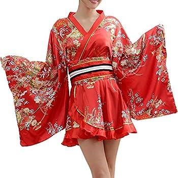 Women s Japanese Kimono Gown Blossom Prints Geisha Yukata Sexy Short Mini Dress Kimono with OBI Belt  Red
