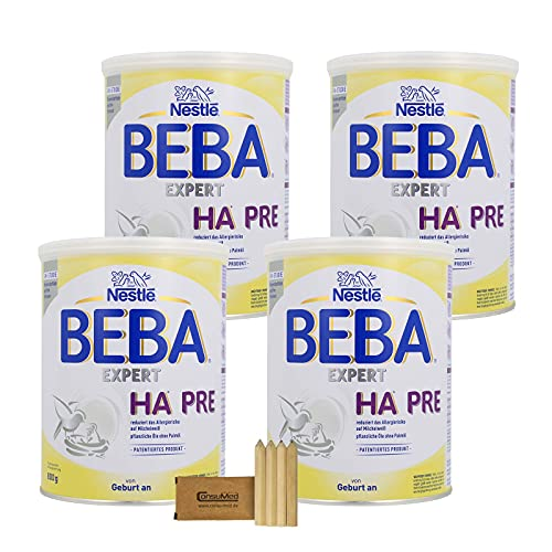 Nestlé BEBA EXPERT HA PRE Hydrolysierte Anfangsnahrung: Säuglingsnahrung von Geburt an, mit LCP (Omega 3) - ab 4x800g mit Stifte-Minibox (4x800g) (4x800g)