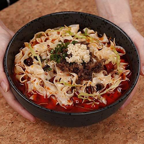 LIXUE Céramique Grand Soupe profonde ramen bol Noodle Salade de fruits Bol Creative Mixing Service Bols de cuisson Four micro-ondes Safe noir 1.4L