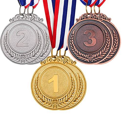 NALCY 6 Piezas Ganadores Medallas, Medallas de Oro Deportiva, Medallas para Niños Metal, Oro, Plata, Bronce, medallas, para Niños Ganador de Oro Premios Premios