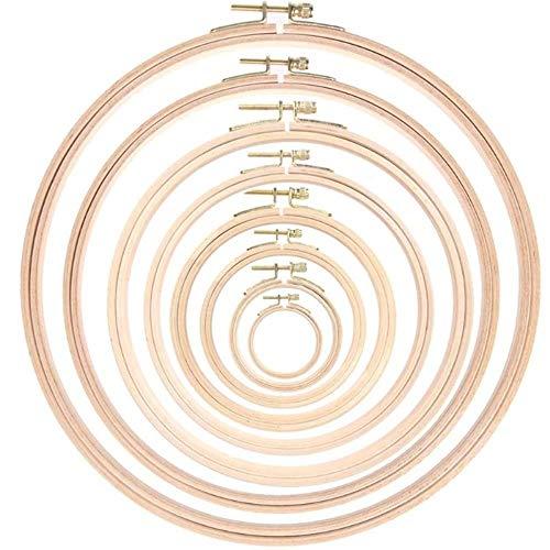 VJRQM 7.5/10.5/12.5/15.5/18/21/24/28 cm ricamo cerchio set di anelli in legno per ricamo fai da te punto croce aghi artigianato, 28 cm
