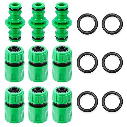 nhnhn Juego de conectores para manguera de jardín, 15 unidades, plástico, conectores de manguera de riego, adaptadores de montaje