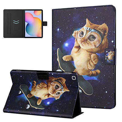 UGOcase Cover for Samsung Galaxy Tab S6 Lite 10.4 Inch 2020 Case for SM-P610/SM-P615, PU Leather Folio Stand Wallet Cute Pattern Case Cover for Galaxy Tab S6 Lite 10.4' SM-P610/SM-P615 - Orange Cat