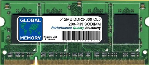 512MB DDR2 800MHz PC2-6400 200-PIN SODIMM Memoria RAM para I