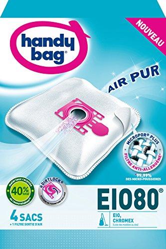 Handy Bag - EIO80 - 4 Sacs Aspirateurs, pour Aspirateurs EIO, Chromex et Rotel, Fermeture Hermétique, Filtre Anti-Allergène, Filtre Moteur