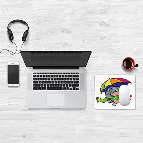 Comfortable Mouse Pad 32x25 cm,Erizo, Animal sonriente con espigas y bufanda Paraguas de colores del arco iris Cami,Base de Goma Antideslizante Wipe Washable para Gamers Ordenador, PC y Laptop32x25 cm