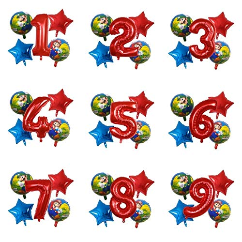 YSJSPOL Balloon 5pcs mario catoon foil balloons for baby boy girl aluminum gift kids toy childrens birthday 30inch Party (Color : 1, Shape : Number 1)