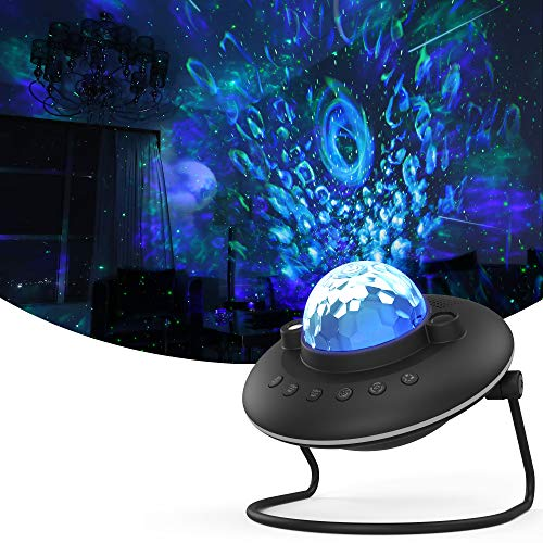 Star Projector, Winique Night Light Projector, UFO Shaped Galaxy Projector with LED Nebula Cloud 7 Light Modes Built-in Bluetooth Music Speaker for Kids Bedroom, Party, Game Room, Black