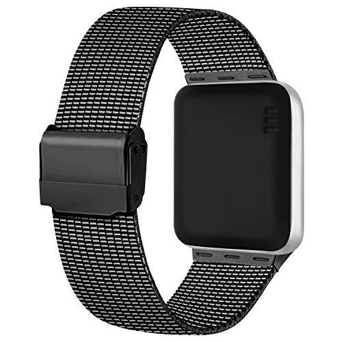 Meliya Cinturino Compatibile per Apple Watch Cinturino 44mm 42mm 40mm 38mm Series 6 5 4 3 2 1 SE, Cinturino in Metallo Maglia Milanese a Acciaio Inossidabile Cinturini (42/44mm, Nero)