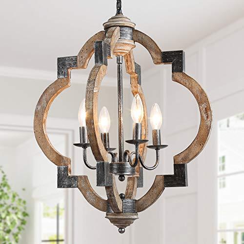 "KSANA ORB Chandelier, 4-Light Wooden Pendant Light in Rustic Wood and Hand-Painted Black Metal Finish, 19.7"" Medium Farmhouse Dining Room Globe Lighting"