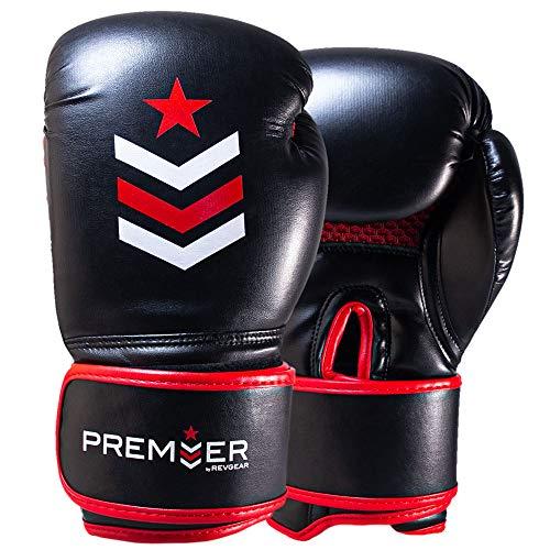 Revgear Premier Boxhandschuhe | Perfekt zum Schlagen der Tasche, Pads und Fokushandschuhe | Bequem und langlebig (rot/schwarz, 340 g)