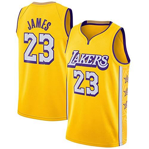 TINKOU Camiseta de Baloncesto NBA Lakers 23# City Edition Camiseta Amarilla Bordado clásico Camiseta de Baloncesto Swingman