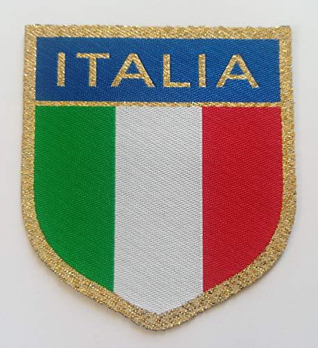 Centro Ricami Patch-Toppa Microricamata in HD/Jacquard (Alta Definizione) Scudetto lamè con Scritta Italia Termoadesiva, Micro Filo, Dimensioni : H. cm.6,4 x L. cm.7 - Made in Italy