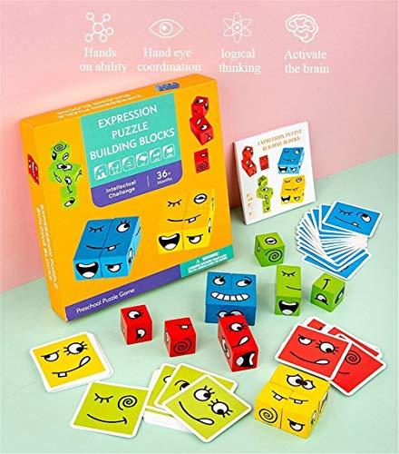 Inmindboom Puzzle Building Cubes Emoji, geometrischer Emoji-Würfel Gesichtsverändernde Puzzle Building Cubes Interaktionsspielzeug Emoji-Matching-Spiel aus Holz für logisches Denken (B)