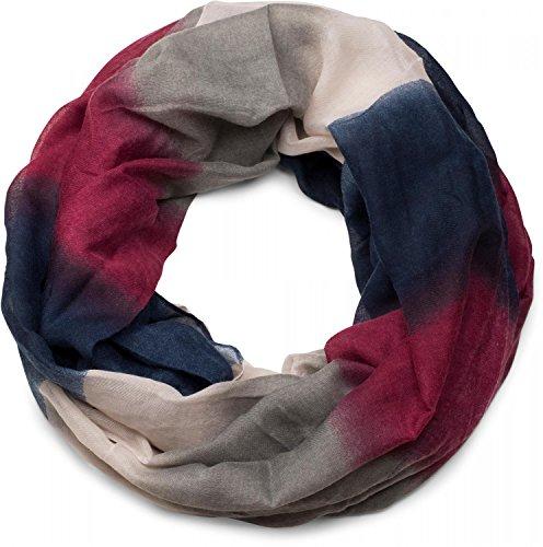 styleBREAKER Loop Schlauchschal mit Streifen Farbverlauf Muster, Unisex 01018097, Farbe:Dunkelblau-Bordeaux-Rot-Grau