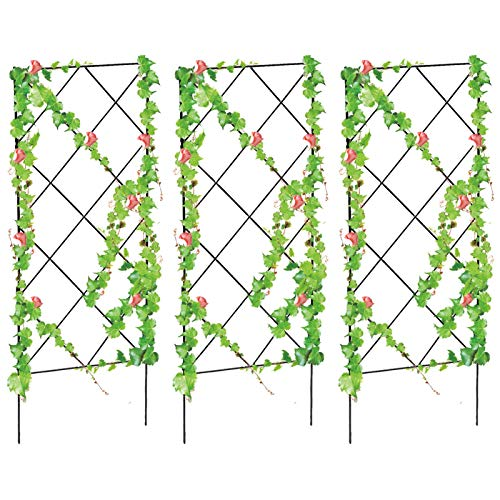 gerFogoo chouzhongsan 3 Pack Garden Plant Support,20.8 * 7.8 inch Foldable Garden Trellis Plant Support Stakes for Climbing Plants Vegetables Flowers Fruits Vine Tomato Cucumbers Trellis(3 Pcs)
