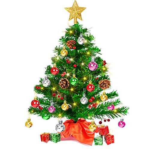 Árbol de Navidad Artificial 50 cm, Árbol de Navidad Pequeño con Luces LED de Colores y otros adornos de bolas, bayas, piñas, cajas, copa de árbol, mini árbol Decoración navidad para mesa, oficina