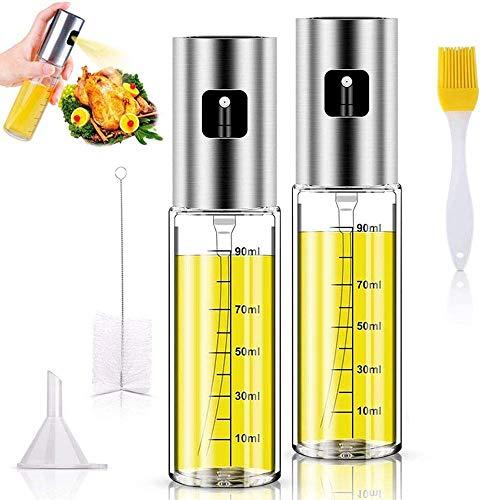 TYSO Dispensador de pulverizador de Aceite, [2 Pack] 100 ML Rociador de Aceite, Inoxidable Botella de Vidrio para cocinar/Ensalada/Hornear Pan/BBQ/Cocina