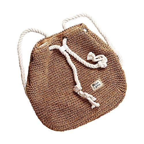 MoGist - Borsa in paglia da donna, elegante, tinta unita, zaino fatto a mano in vimini, borsa estiva, borsa da spiaggia