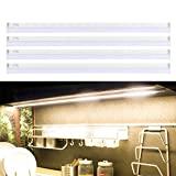 B-right Under Cabinet Lighting, LED Puck Lights Plug in 2080lm Under Counter Lights with Enough Brightness, Stick on Light Soft Warm White 3000K, Pack of 4