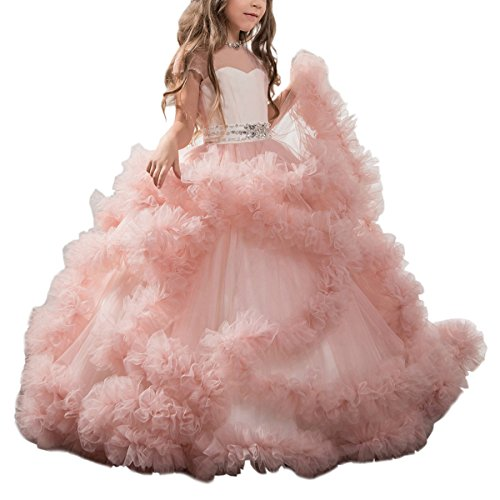 Stunning V-Back Luxury Pageant Tulle Ball Gowns for Girls 2-12 Year Old Pink,Size 8