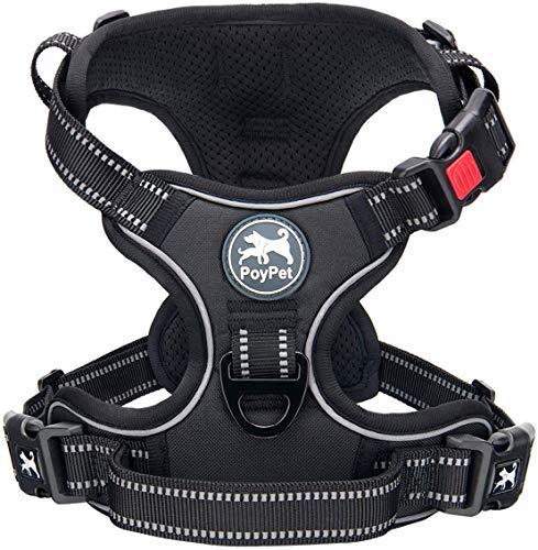 PoyPet Keine Pull Hundegeschirr Front Reflektierende Pet Weste für Hunde mit Einfache Kontrolle Griff und Rückseite perfekt für den täglichen Training, Walken, Running(Schwarz,M)