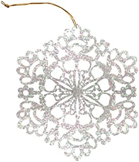 The Gift Wrap Company Iridescent Glitter Flake Gift Tags, 6-Count, White