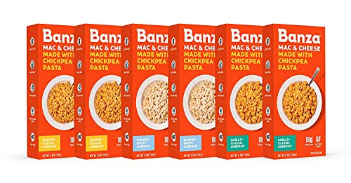 Banza Chickpea Mac and Cheese Variety Pack - High Protein, Gluten Free Mac and Cheese, Healthy Macaroni and Cheese (White & Classic Cheddar and Elbows & Shells) (Pack of 6)