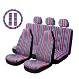 "Copap Purple Stripe Car Seat Cover Multi-Color Baja Saddle Blanket Universal 10pc Seat Covers Full Set with 15"" Steering Wheel Cover & Seat Belt Protectors for Sedan"