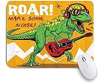 NINEHASA 可愛いマウスパッド ギターのデザインを演奏するクールな恐竜 ノンスリップゴムバッキングコンピューターマウスパッドノートブックマウスマット