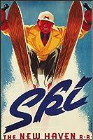 スキー広告ニューヘブン鉄道クリアランスDEALポスター11x17平行輸入