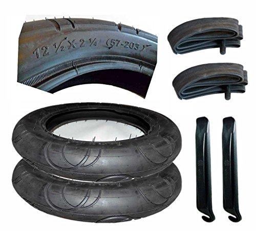 2X Reifen + Schlauch 12 1/2 x 2 1/4 Zoll DIN 57-203 mit Montagehebel