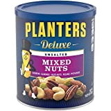 PLANTERS Deluxe Unsalted Mixed Nuts, 15.25 oz. Resealable Container - Variety Unsalted Nuts with Cashews, Almonds, Hazelnuts, Pistachios & Pecans - Shareable Snack for Snacking