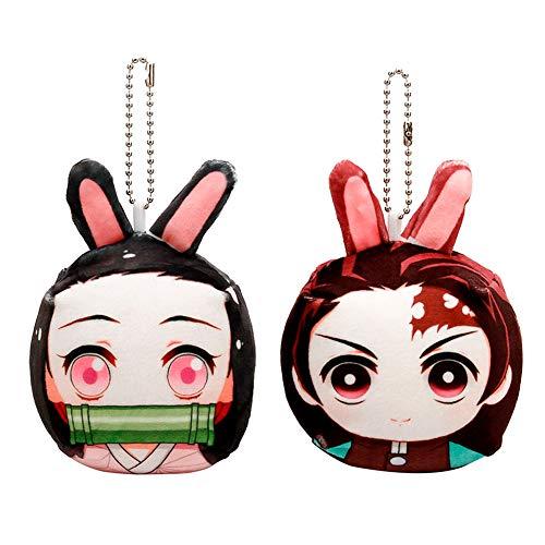 Elibeauty Japanese Anime Demon Slayer Plush Doll Keychain, Cute Mini Doll Keychain Pendant Bag Backpack Mobile Phone Key Decoration Best Gift for Anime Fans( 2 Pack)